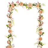 Artiflr Artificial Peony Garland Flowers, 6 Ft Floral Greenery Garland Rose Flower Vine Garland with Mixed Peony Flowers and Green Leaves for Wedding Dining Table Home Party Decor