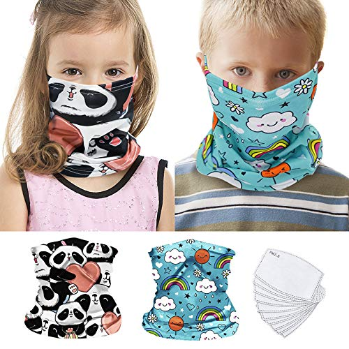 2Pcs Kids Bandanas Face Mask Earloop Neck Gaiters for Boys Girls with 10pcs Activated Carbon Filters Outdoor Balaclava (Panda_Hearted Pattern+Rainbow_Sky Blue Pattern,S)
