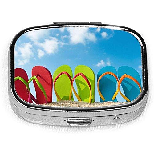 Flip Flop Sommer Strand Custom Fashion Silber Quadrat Pillendose Medizin Tablet Halter Wallet Organizer Fall für Tasche oder Geldbörse