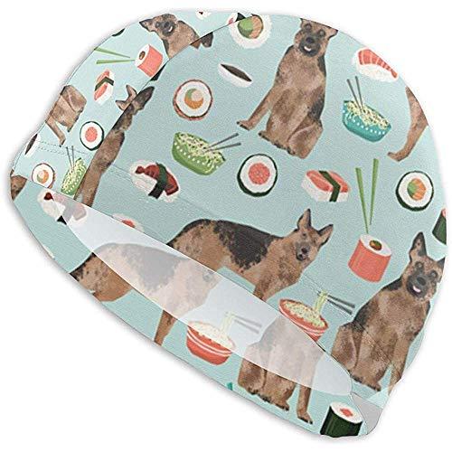 BeiBao-shop Sushi Nudel Deutscher Schäferhund Lycra Badekappe Komfortable Passform Badekappen Bade- und Duschhaarabdeckung Gehörschutz