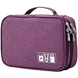Travel Cable Organizer Bag, Electronic Accessories Case Portable Double Layer Cable Storage Bag for Cord,Phone,Charger, Flash Drive, Phone, SD Card,Personal Items - (Purple)