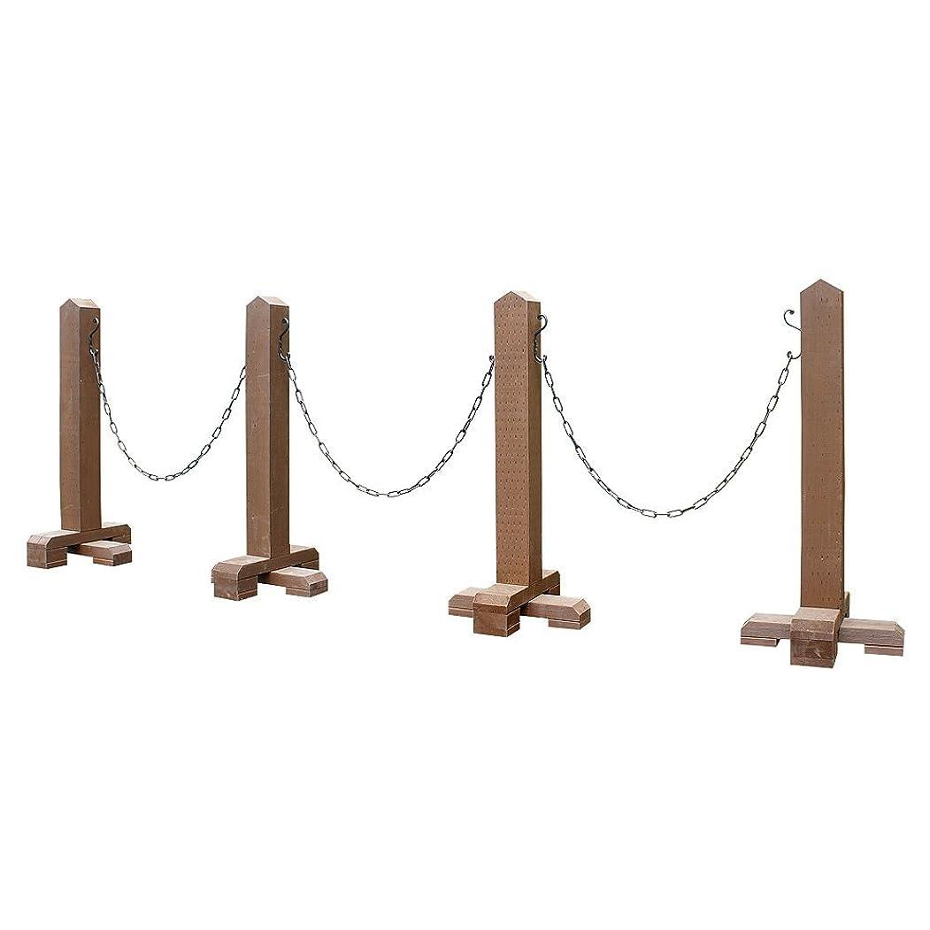 カバー教える円形木製チェーンスタンド-ブラウン-3スパン(受注製作) チェーン付駐車場ポール