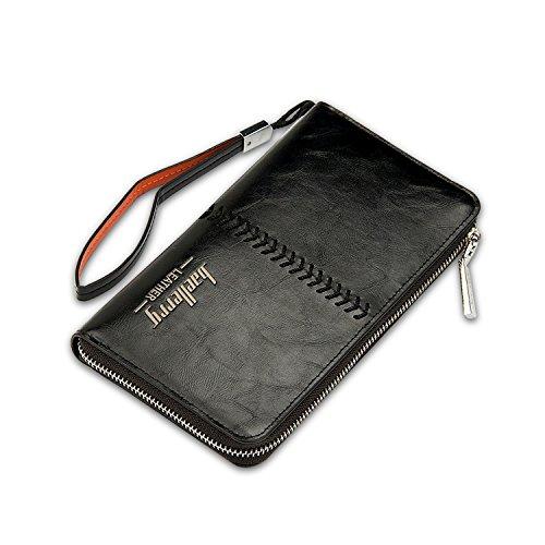 FANDARE Retro Largo Billetera Hombre Viaje Estudiantes Party Comercio Gran Capacidad Portable Zipper Wallet Impermeable PU Negro