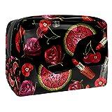 TIZORAX Bordado Pintalabios Rosas Sandía Cereza Cosméticos Bolsa de PVC Bolsa de Maquillaje Artículos de Aseo de Viaje Práctica Bolsa Organizador para Mujer