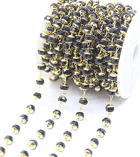 FC-47143 5Meter 4x6mm Faceted Glass Chains Rosary Beads Bargain Rondelle 1 year warranty