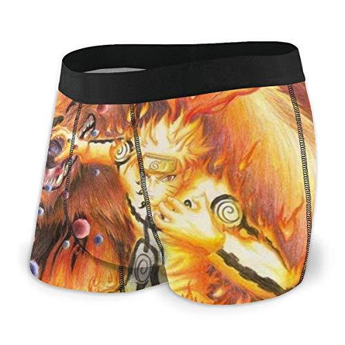 HJFRDVBNT Anime Naruto Herren-Boxershorts, bedruckt, Baumwolle, elastisch, atmungsaktiv und bequem, viele Größen M, Schwarz