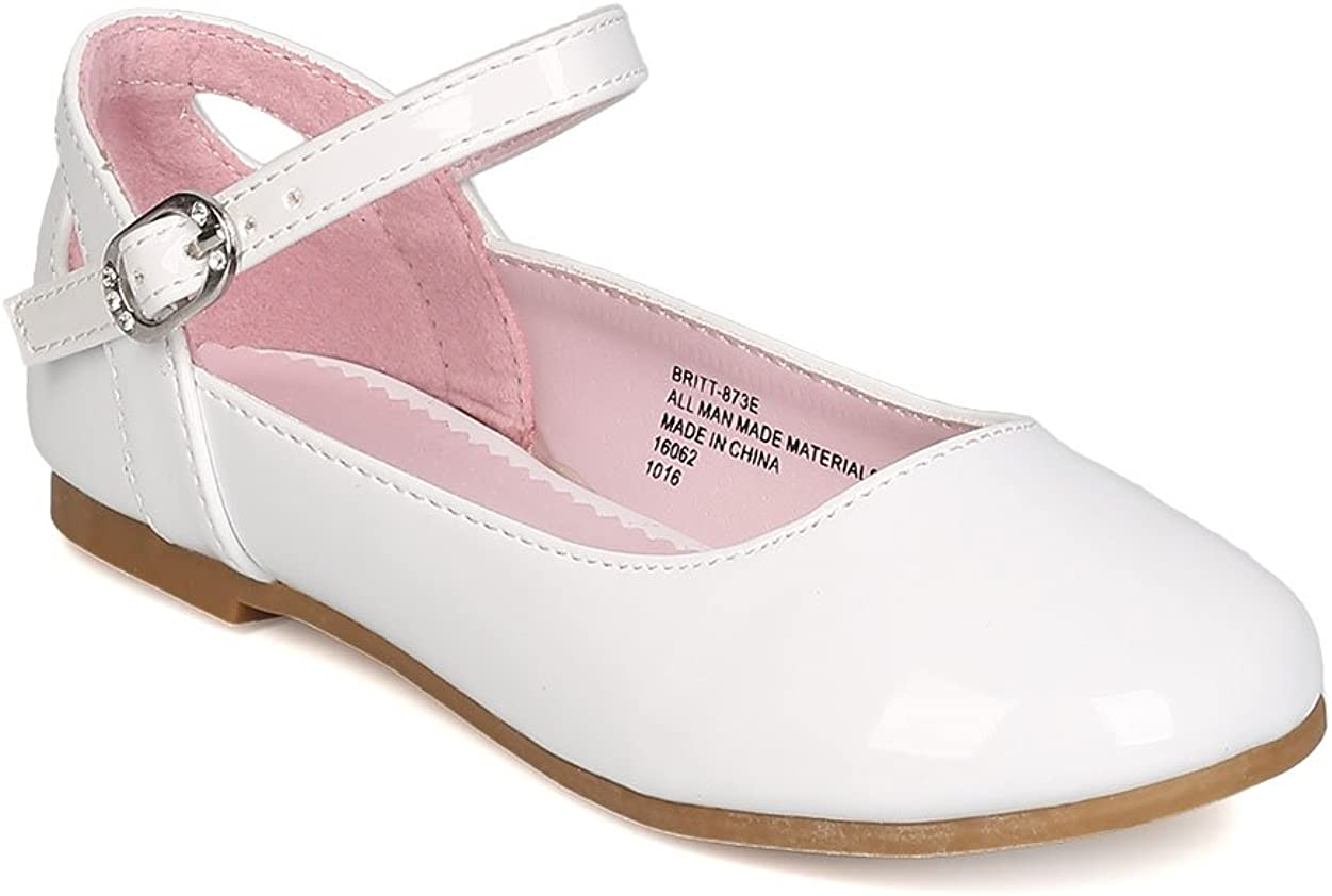 Girls Patent Leatherette Finally popular brand Tulsa Mall Ankle Strap GB38 Cut Ballet Flat Out