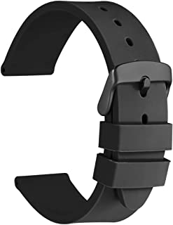 Watch Bands - Premium Silicone Rubber Replacement Straps with Black Buckle (18mm 20mm 22mm 24mm)