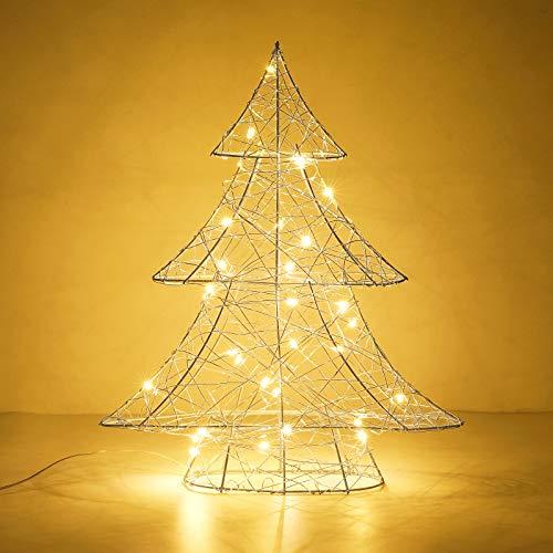 Lewondr Lámpara Decorativa de Mesa de Hierro 3D Tejida con Luz de Noche, 39 cm Luces Led Funciona con Pilas, Ideal para Fiesta, Boda, Decoración del Hogar, Disposición Romántica - Árbol de Navidad