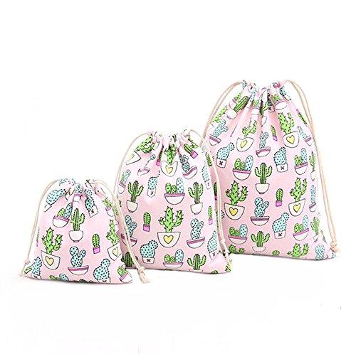 iTemer 3 piezas de bolsa de almacenamiento de algodón con diseño de cactus fresco Diseño de viga de lazo bolsa de embalaje bolsa de lona bolsa de cambio bolsa de cosméticos