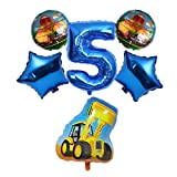 JSJJARF Globos Globo de la Hoja Número Globo de la Hoja 6pcs de Bomberos del Tractor Excavadora Helio for el Feliz cumpleaños Decoración de Fiesta (Color : Bulldozer 5)