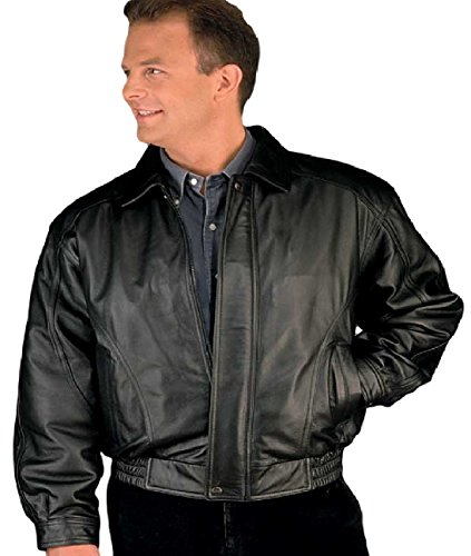 REED Men's American Style Bomber Genuine Leather Jacket (Small, Black)
