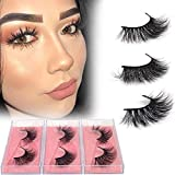 BEEOS 3D Mink Eyelashes Natural Long Faux Lashes Pack 100% Real Siberian Fur False Eyelashes 15-20mm in 3 Different Daily Styles Reusable, Handmade & Light Weight Fake Eyelashes (3 Styles-Daily1)