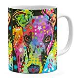 Dean Russo Curious Greyhound Coffee Ceramic Mug  Christmas Birthday Valentine's Mothers Fathers Day Gift For Dog Lover Mom Dad Friend Pet Owners colorful Greyhound pop Art - White Mug