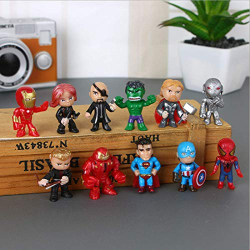 12PCS Super hero Cake topper and Cup cake Topper,The Avengers cake topper Children Shower Birthday Party Supplies. Mini action figures, organizers games toy party collection