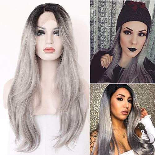 HAIRCARE Gris Perruque Longue d'argent,Dark Roots Curly Perruque De Cheveux Synthétiques Perruques Pleines pour Les Femmes
