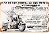 Metal Tin Sign 16'X12'1961 Cushman Silver Eagle Scooter,Cupboard Outdoor & Indoor Sign Wall Decoration,Living Room Cafe Bar Restaurant Wall Decoration Artwork,Tin Plate Vintage Metal Sign