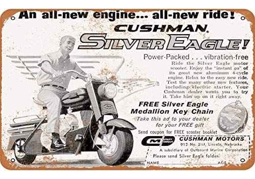 Metal Tin Sign, 1961 Cushman Silver Eagle Scooter Vintage Wall Plaque Man Cave Poster Decorative Sign Home Decor for Indoor Outdoor Birthday Gift 8x12 Inch
