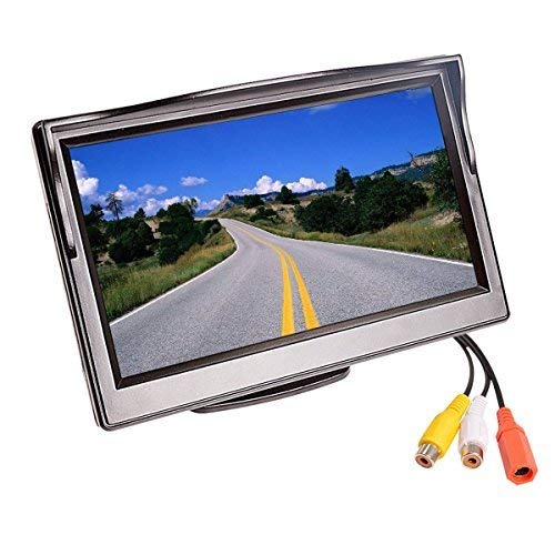 "5""Car Reverse Monitor TFT LCD HD Digital 16:9,800480 Screen 2 Way Video Input Colorful For Reverse Rear View Camera DVD VCD, Easy Installation,For Cars, SUVs, Vans, Pickups, Trucks.Super Night Vision backup Cameras Vehicle"