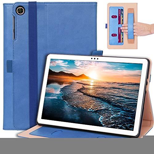 BZN for Huawei Disfrute de la tableta 2 10.1 pulgadas de negocios Retro textura Funda de cuero de la tapa horizontal con soporte y tragamonedas de tarjetas y correa de mano ( Color : Blue )