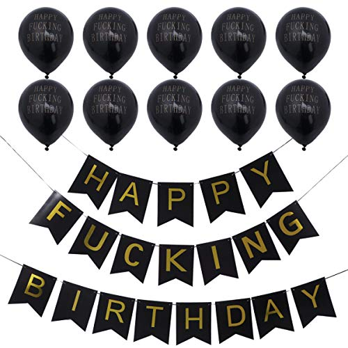 BESTOYARD Happy FING Birthday Decorations Banner with 10pcs Black Latex Balloons Party Favors