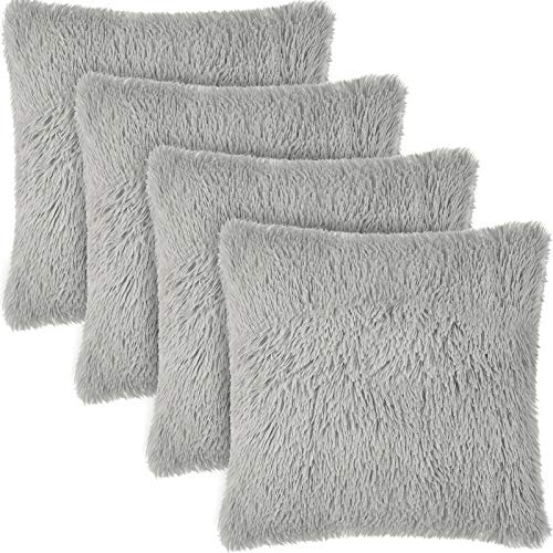 4 Pieces Soft Faux Fur Throw Pillow Covers Fuzzy Cushion Covers Soft Plush Pillow Cases Fluffy Square Pillow Covers for Home Office Couch Sofa Bedroom,17 x 17 Inches (Gray)