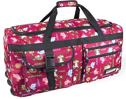 normani Leichte XXL Reisetasche Rollenreisetasche Trolley Sporttasche mit Rollen Farbe Eule