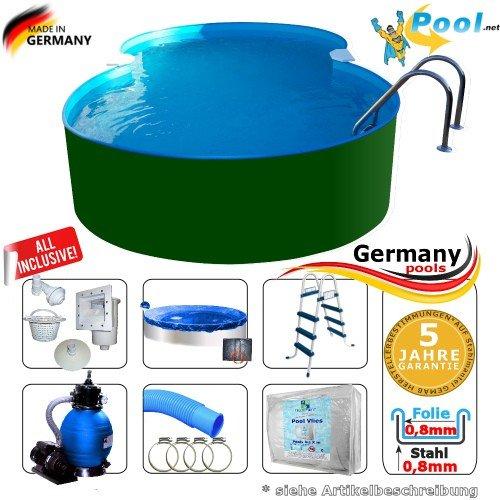 Achtformpool 4,70 x 3,00 x 1,25 m Achtformbecken Komplettset Stahlwandpool Achtform Pool