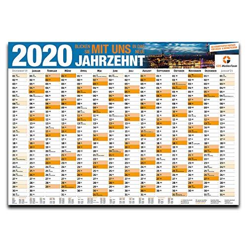 GDS Jahresplaner XXL 2020 I DIN A0 Quer-Format I Wand-Kalender mit Feiertagen Ferienübersicht und Kalenderwochen I 14 Monate