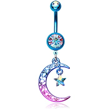 Filigree Moon with Sun Star Clear Cz Dangle Belly Navel Ring Body Jewelry