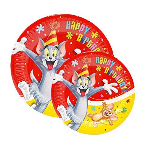 Kit de fiesta de cumpleaños 8 platos 23 cm + 8 platos 18 cm (Tom y Jerry)