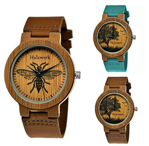 Handgefertigte Holzwerk Germany® Designer Damen-Uhr Herren-Uhr Öko Natur Holz-Uhr Leder Armband-Uhr Analog Quarz-Uhr Braun Blau Türkis Baum Biene Natur Motiv Limitiert (Holzwerk - Biene)