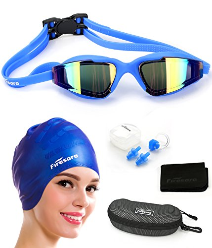 Firesara Swim Cap Swimming Goggles, Swimming Cap for Long Hair Swimming Glasses Anti Fog UV Protection for Adults Youth Men Women Boys Kids with Nose Clip Ear Plugs Sets (Blue), Blue