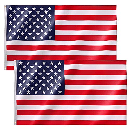 Free Walker American Flag 3x5 FT 2PACKS,Premium Nylon US Flags with Bright Vibrant Color and Brass Grommets for Indoors and Outdoors,Durable USA Flag for Outside(2xBreeze Style)
