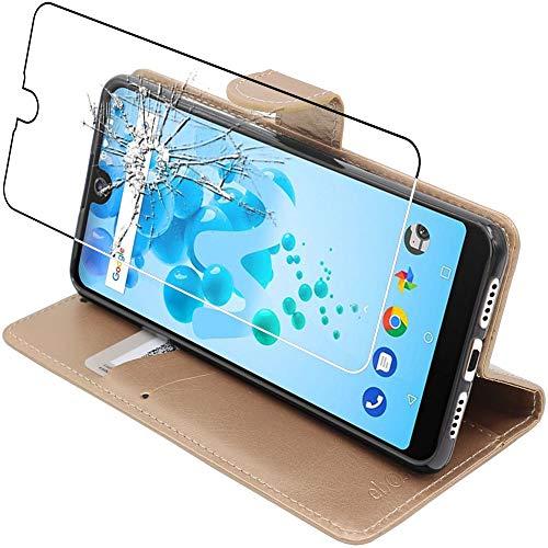 ebestStar - kompatibel mit Wiko View 2 Pro Hülle Kunstleder Wallet Hülle Handyhülle [PU Leder], Kartenfächern Standfunktion, Gold + Panzerglas Schutzfolie [Phone: 153 x 72.6 x 8.3mm, 6.0'']