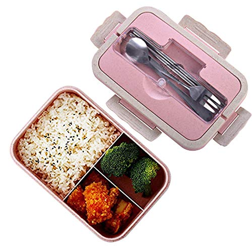 Scatole bento, sicurezza grano naturale 1000 ml lunch box contenitore alimentare ermetico con forchetta bacchette cucchiaio per bambini e adulti, microonde, lavabile in lavastoviglie (Rosa)
