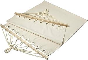 Fun Fan Line® - Hamaca colgante para exterior o interior. Detalles de calidad, travesaño de madera y funda de lona portatil incluida. Colgantes para terraza diseño elegante. Color blanco natural.