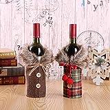 7777777 Noël Rouge Sacs Bouteille de vin Couverture Sac Linge Champagne Bouteille Housses de Noël Vêtements pour Bouteilles Décor de Table Accueil