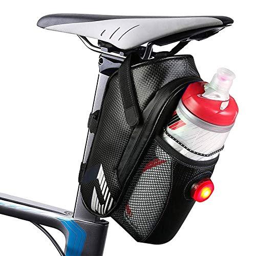 Rifny wasserdichte Fahrrad Satteltasche,Fahrradtasche Rahmentasche Mountainbike Bag mit Rücklichthalter und reflektierende Elementefür Fahrrad - Ideal für Fahrrad Zubehör & Werkzeug (Schwarz)