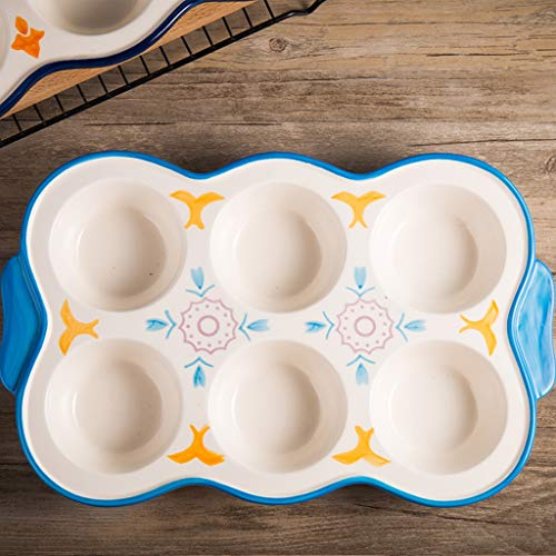 YIN YIN Plateau de Cuisson, Moule de Cuisson en céramique 6 Même antiadhésif gâteau Moule ménages Four Six Round Lian Mafen Small Egg Mold Plat de Cuisson (Color : B)