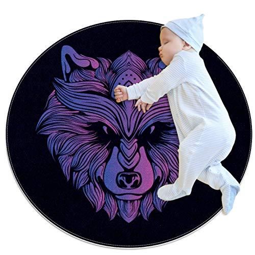 LKJDF Estera de juego, alfombra de arrastre con aire acondicionado, dormitorio infantil para niños, cabeza de lobo púrpura