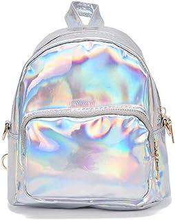 YCX Damen Hologramm Pailletten PU Leder Mini Rucksäcke Teenager Schultertasche/Silber,Shiny Hologram Laser Zipper PU-Leder...