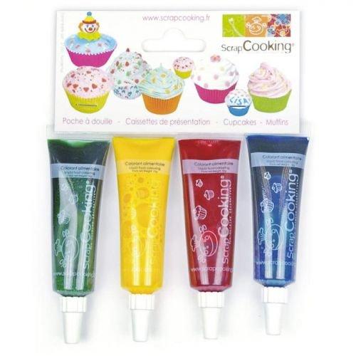 4 colorantes alimentarios líquidos - azul, rojo, amarillo, verde