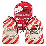 3 Christmas Personalized Santa Burlap Sack Gift Bags with Drawstring for Large Xmas Package Storage Bag, Holiday Party Supplies, Xmas Party Favors
