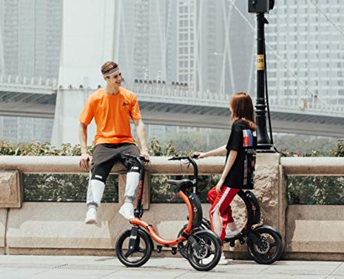 CWM Electric Scooter Electric Bike, Foldable Bike with 450W Brushless Motor, App Support, 14 Inch Wheel Max Speed 30 km/h E-Bike for Adults and Commuters