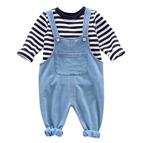 wuayi Baby Jungen Mädchen Kleidung Sets Herbst, Kinder Baby Stripe Langarmshirts Denim Overalls Hosen T Shirt Winter Outfits