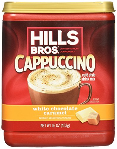 Hills Bros. Instant Cappuccino Mix, White Chocolate Caramel Cappuccino– Easy to Use, Enjoy Coffeehouse Flavor from Home– Frothy, Decadent Cappuccino with White Chocolate and Creamy Caramel (16 Ounces)