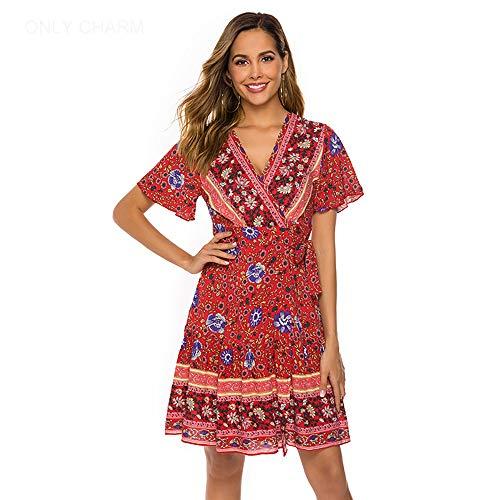 ONLY CHARM Femmes Robes Sexy Cou V, Bohème Style Plage Robes Courte Manches Imprimé A-Ligne Été Court Paragraphe Robe,Red,XL