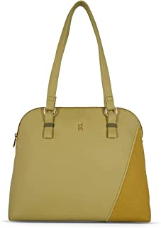Baggit Spring-Summer 2021 Faux Leather Women's Bowling Handbag (Yellow) (Equity)