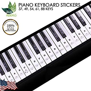 G.F. Piano Keyboard Stickers, Removable Transparent Piano Stickers, with Ebook for Piano Beginners, Removable Stickers for 37,49,54,61, and 88 Keys